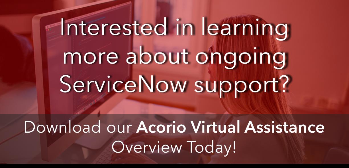 Acorio Virtual Assistance ServiceNow