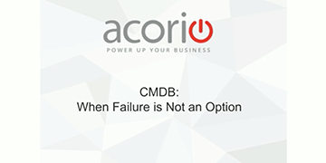 Cover for the CMDB – When Failure is Not an Option webinar