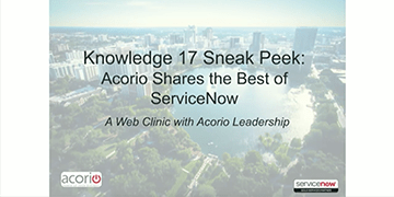 Cover for the Knowledge17 Sneak Peek: Our Best of ServiceNow webinar
