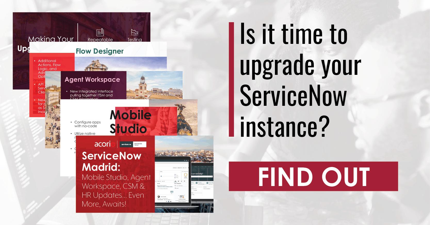 ServiceNow Upgrade Madrid release webinar