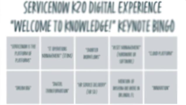 ServiceNow K20 Keynote Bingo Blur v2
