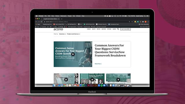 Acorio Business website on laptop