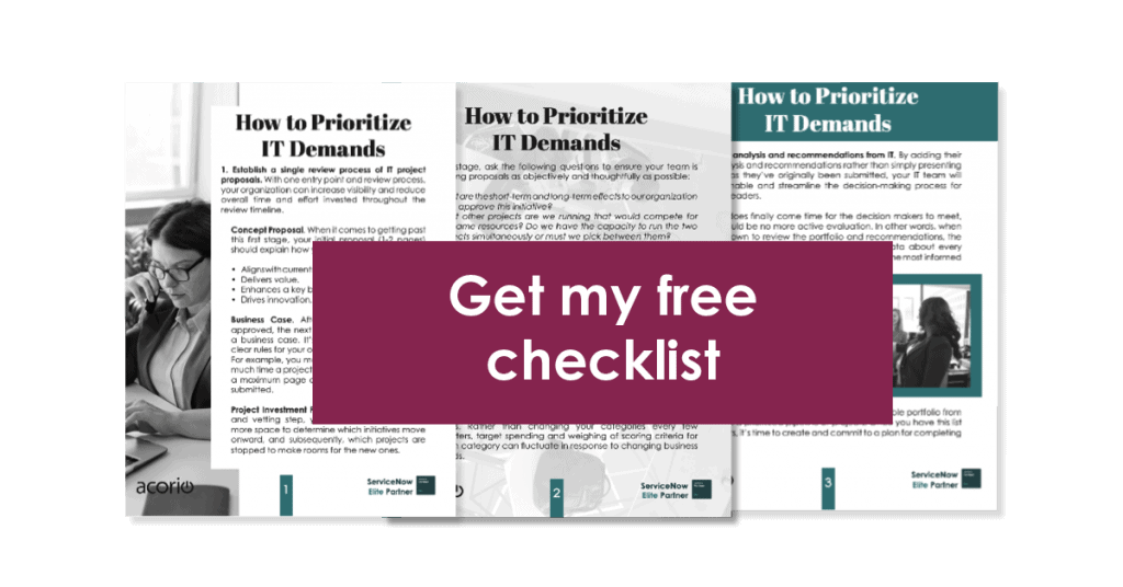 ServiceNow IT Checklist preview with click to download