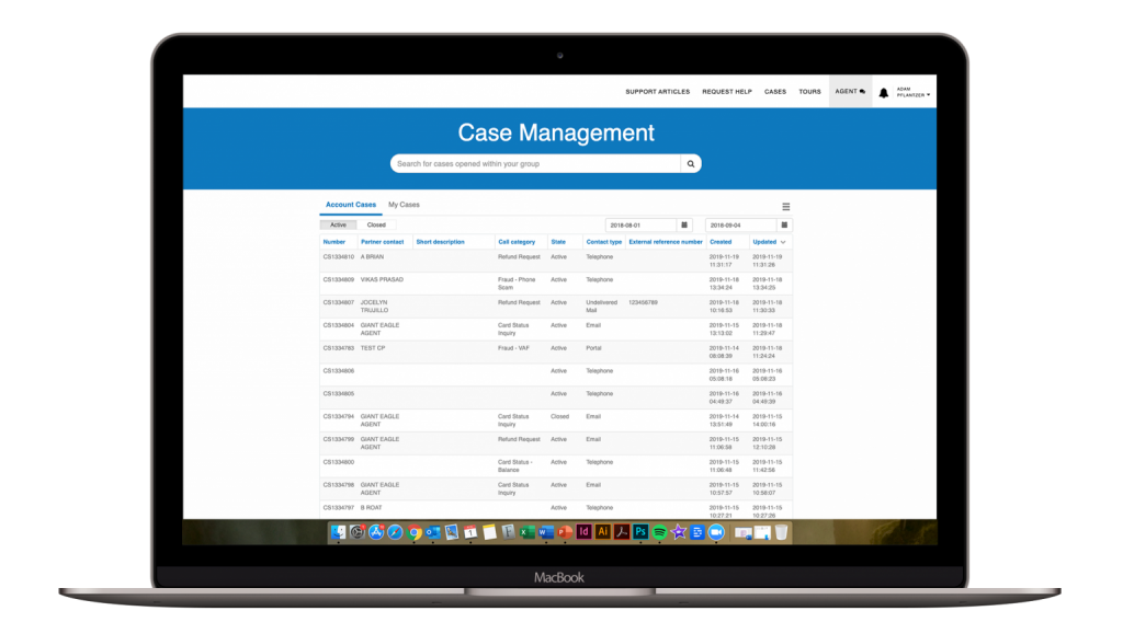 ServiceNow Service Portal phase Case Management screenshot on laptop